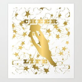 Cheer Life Design in Gold with Stars Art Print