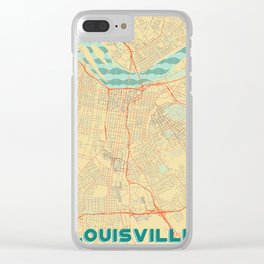 Louisville Map Retro Clear iPhone Case