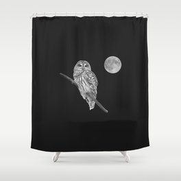 Owl, See the Moon (bw, sq) Shower Curtain