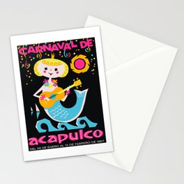 1967 MEXICO Carnaval De Acapulco Mermaid Poster Stationery Cards