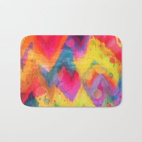 BOLD QUOTATION in NEONS 2 - Intense Rainbow Abstract Watercolor Art Painting Dream Pink Ikat Pattern Bath Mat