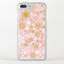 A Thousand Snowflakes in Rose Gold Clear iPhone Case