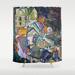 Egon Schiele - Edge of Town (Krumau Town Crescent III) 1918 Shower Curtain