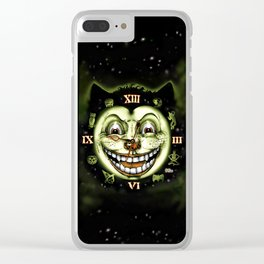 Black Cat 13 Halloween Clock Clear iPhone Case