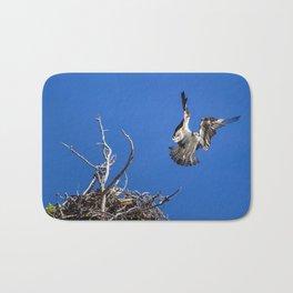 An Osprey Flies Out Of The Nest Bath Mat