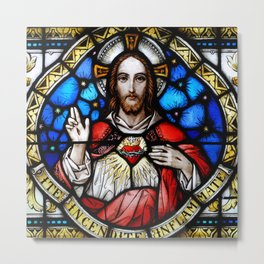 Sacred Heart in Stained Glass Metal Print
