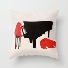 A Sleepy bear playing piano Throw Pillow