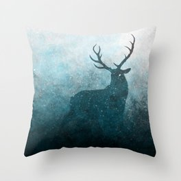 Space Stag Silhouette Throw Pillow