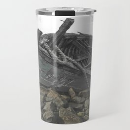 Boat Beached on a Rocky Shore in the Mist Travel Mug