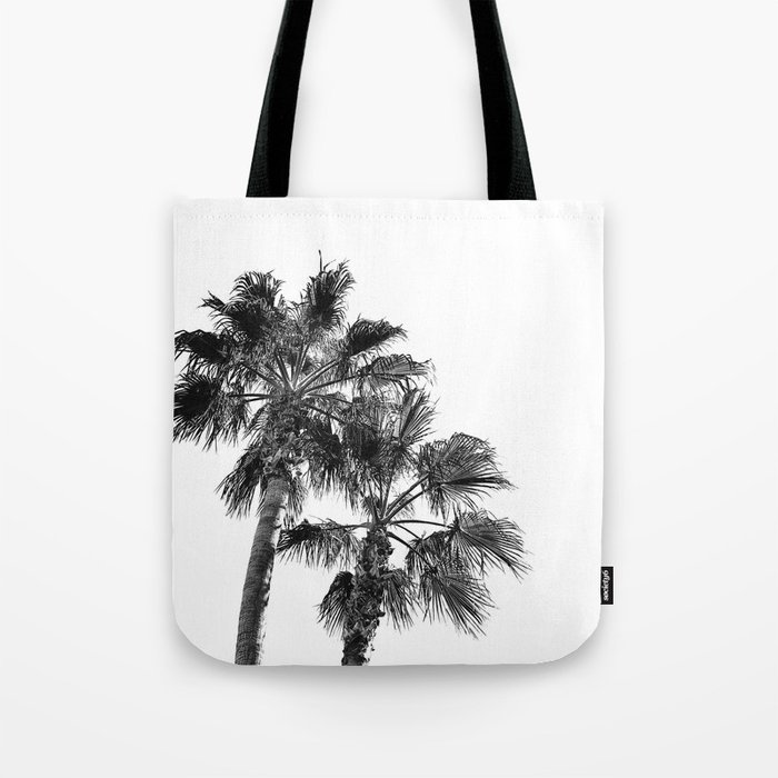 B&W Palm Tree Print   Black and White Summer Sky Beach Surfing Photography Art Tote Bag