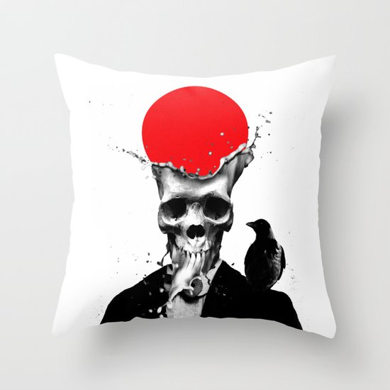 SPLASH SKULL Throw Pillow