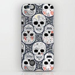 Celebracion de Gris_Sugar Skulls_Calaveras_Repeat_RobinPickens iPhone Skin