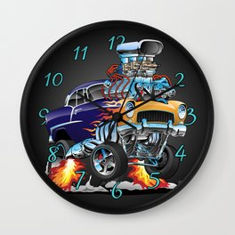 Classic Fifties Hot Rod Muscle Car Cartoon Wall Clock