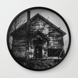 School's Out - Abandoned Schoolhouse in Iowa in Black and White Wall Clock