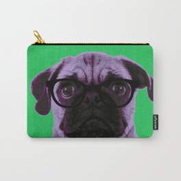 Geek Pug with Glasses in Green Background Carry-All Pouch