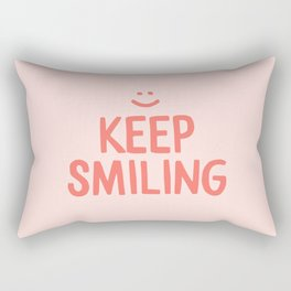 Keep Smiling - Pink Happiness Quote Rectangular Pillow