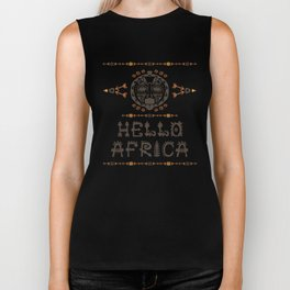 Hello Africa!  with Tribal mask Biker Tank