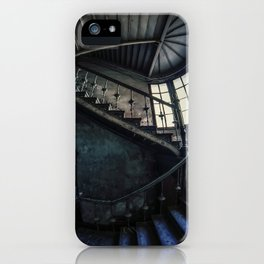 Twisted blue and gray staircase iPhone Case