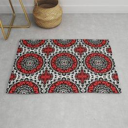 Southwestern Sun Mandala Batik, Red, Black & White Rug