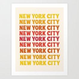 New York City - throwback 70's style colorful typography minimal decor art 1970s Art Print