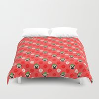 pugs Duvet Covers featuring Holiday Pugs by pugmom4