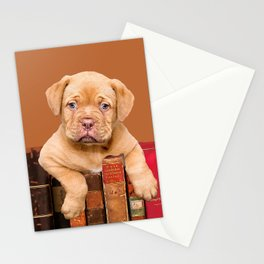 Old Books and Bordeaux Bulldog puppy Stationery Cards