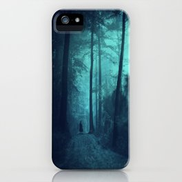 Light in a cyan forest iPhone Case