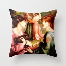 "Dante Gabriel Rossetti ""The Bower Meadow"" Throw Pillow"