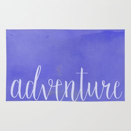 Adventure Awaits quote purple mountains landscape Rug