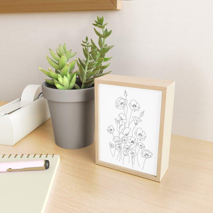 Poppy Flowers Line Art Framed Mini Art Print