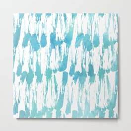 Turquoise and white watercolors messy strokes pattern Metal Print