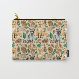 Woodland Creatures Illustrated Watercolor Pattern Carry-All Pouch