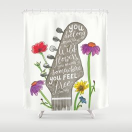 You belong among the wildflowers. Tom Petty quote. Watercolor guitar illustration. Hand lettering. Shower Curtain