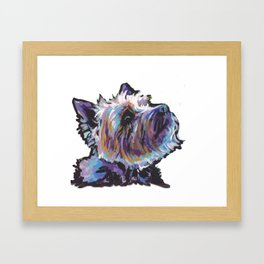 Fun Cairn Terrier Dog Portrait bright colorful Pop Art Painting by LEA Framed Art Print