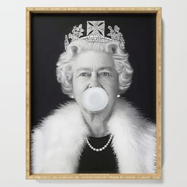 QUEEN ELIZABETH II BLOWING WHITE BUBBLE GUM Serving Tray