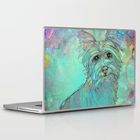 yorkie Laptop & iPad Skins featuring Dog Illustration ; Yorkie by bialy kot art