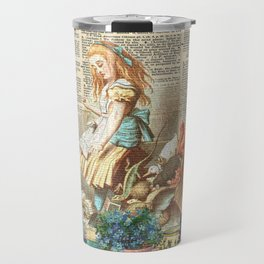 Vintage Alice In Wonderland on a Dictionary Page Travel Mug