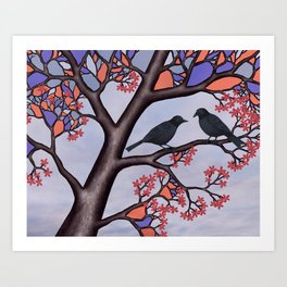 spring crows in the stained glass tree Art Print