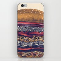 burger iPhone & iPod Skins featuring burger by mr. louis