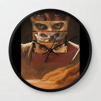 mad max Wall Clocks featuring Mad Max Fury Road by Laura Pulido
