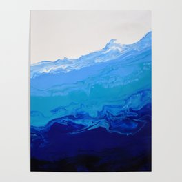 High Tide Blue Turquoise Water Fluid Abstract Poster