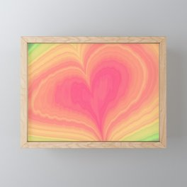 Abstract Tropical Pastel Rainbow Heart Pattern | Valentine's Day Framed Mini Art Print