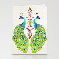 peacock Stationery Cards featuring peacock by Manoou