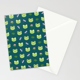 Frogs, Dragonflies and Lilypads on Teal Stationery Cards
