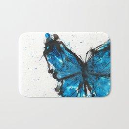 Blue butterfly ink splatter Bath Mat