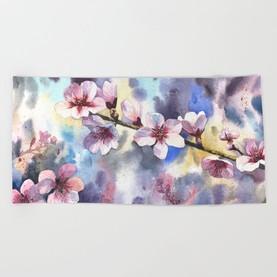 Blossoming almond Beach Towel