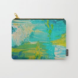SEASIDE DREAMS - Beautiful Ocean Waves Teal Blue Turquoise Chartreuse Underwater Abstract Painting Carry-All Pouch