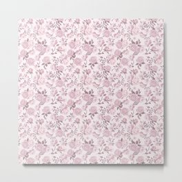 Shabby Chic Cottage Pink Roses Girly Cottage Chic Floral Print French Country Flowers Romantic Polka Dots and Roses Vintage Pattern Design Blush Pink Metal Print