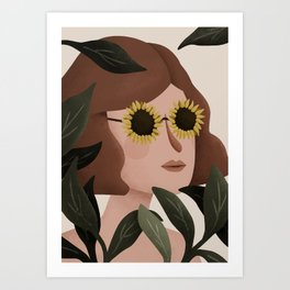 Margot Sunflower Portrait Art Print