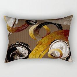 Big Dark Brass Yellow and Brown Rings and Circles Rectangular Pillow